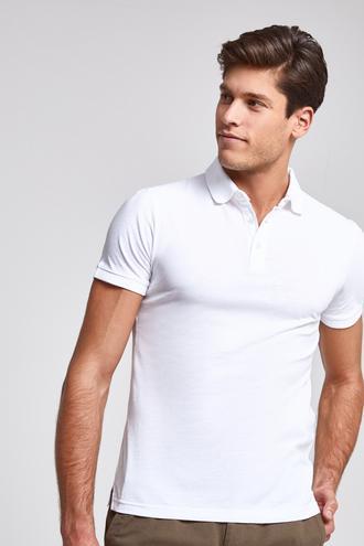 Ds Damat Slim Fit Beyaz Pike Dokulu T-shirt - 8682445309591 | D'S Damat