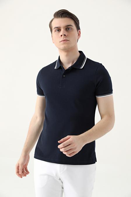 Ds Damat Slim Fit Lacivert Pike Dokulu T-shirt - 8682060908537   D'S Damat