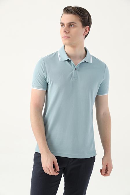 Ds Damat Slim Fit Mint Pike Dokulu T-shirt - 8682060908575   D'S Damat