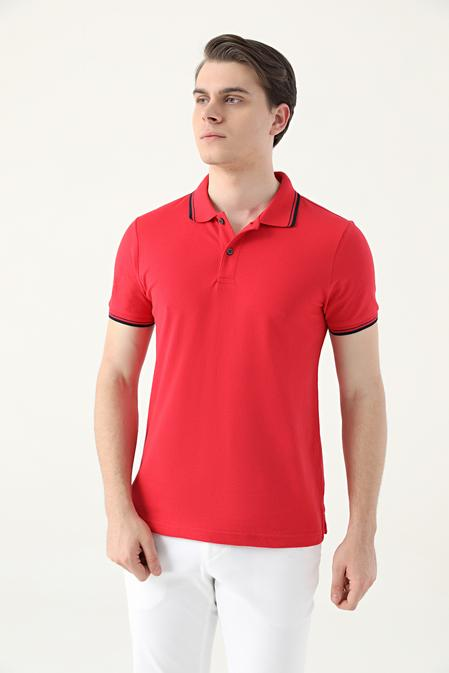 Ds Damat Slim Fit Kırmızı Pike Dokulu T-shirt - 8682060908605   D'S Damat
