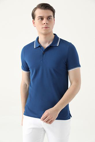 Ds Damat Slim Fit Saks Mavi Pike Dokulu T-shirt - 8682060908667 | D'S Damat