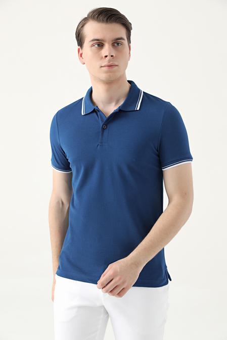 Ds Damat Slim Fit Saks Mavi Pike Dokulu T-shirt - 8682060908667   D'S Damat