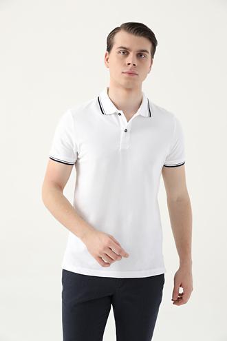 Ds Damat Slim Fit Beyaz Pike Dokulu T-shirt - 8682060908704 | D'S Damat