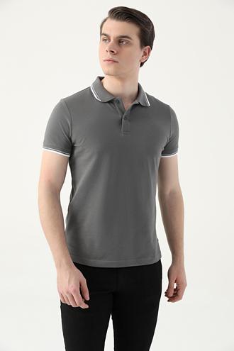 Ds Damat Slim Fit Antrasit Pike Dokulu T-shirt - 8682060908766 | D'S Damat