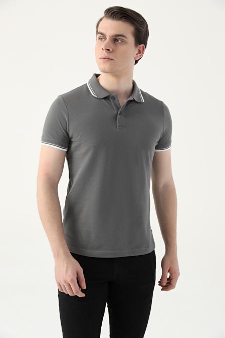 Ds Damat Slim Fit Antrasit Pike Dokulu T-shirt - 8682060908766   D'S Damat