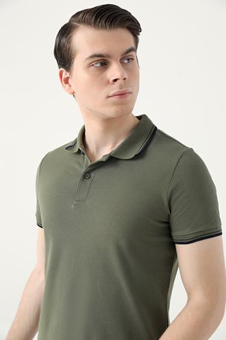 Ds Damat Slim Fit Haki Pike Dokulu T-shirt - 8682060908803 | D'S Damat