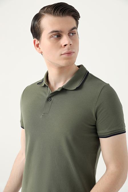 Ds Damat Slim Fit Haki Pike Dokulu T-shirt - 8682060908803   D'S Damat