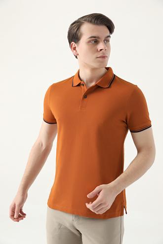 Ds Damat Slim Fit Tarçın Pike Dokulu T-shirt - 8682060908902 | D'S Damat