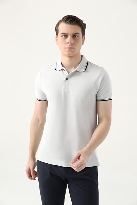 Ds Damat Slim Fit Taş Pike Dokulu T-shirt - 8682060908872   D'S Damat