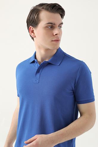 Ds Damat Regular Fit Saks Mavi Pike Dokulu T-shirt - 8682445204469 | D'S Damat