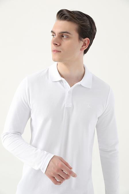 Ds Damat Regular Fit Beyaz Pike Dokulu T-shirt - 8682445205046 | D'S Damat