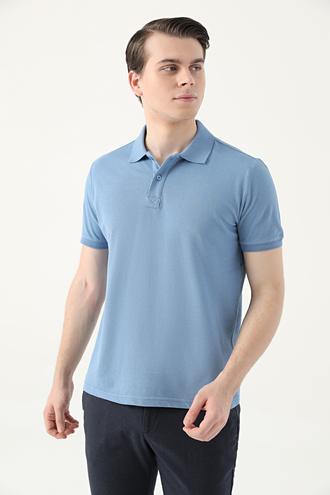 Ds Damat Regular Fit Mavi Pike Dokulu T-shirt - 8682445204407 | D'S Damat