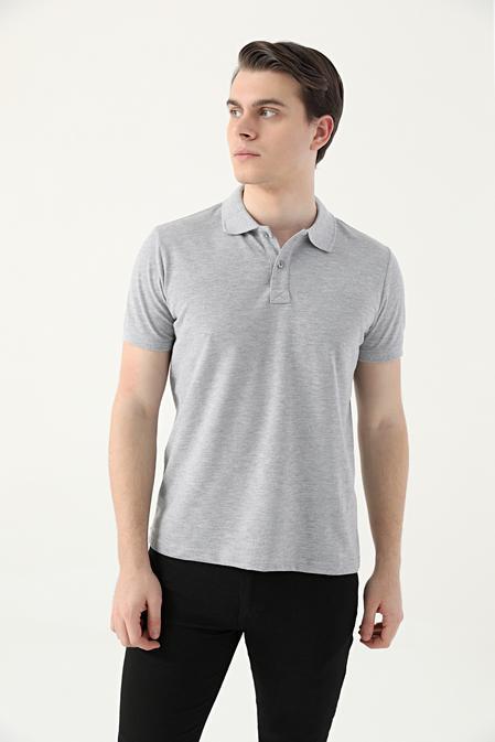 Ds Damat Regular Fit Gri Pike Dokulu T-shirt - 8682445205213 | D'S Damat