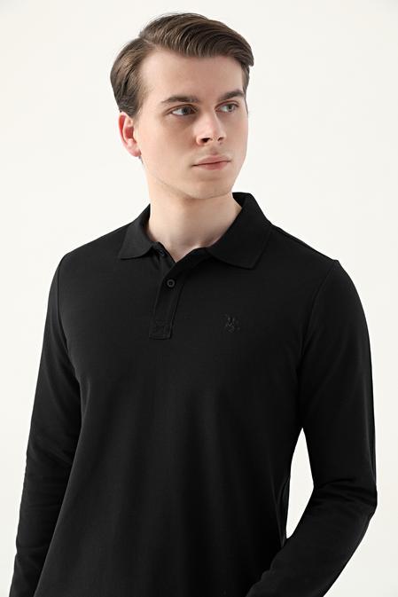 Ds Damat Regular Fit Siyah Pike Dokulu T-shirt - 8682445204940   D'S Damat