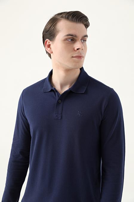 Ds Damat Regular Fit Lacivert Pike Dokulu T-shirt - 8682445205008   D'S Damat
