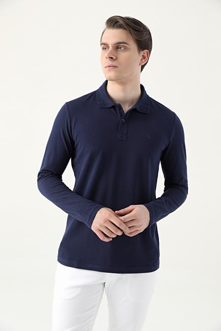 Ds Damat Regular Fit Lacivert Pike Dokulu T-shirt - 8682445205008 | D'S Damat