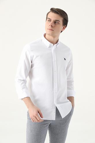 Ds Damat Slim Fit Beyaz Armürlü Gömlek - 8682445192742 | D'S Damat