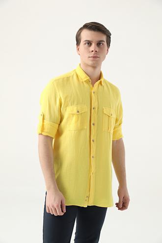 Ds Damat Regular Fit Sarı Düz Keten Gömlek - 8682445290318 | D'S Damat