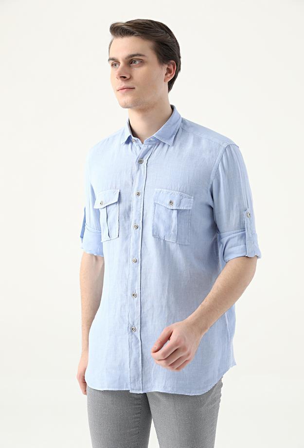 Ds Damat Regular Fit Mavi Düz Keten Gömlek