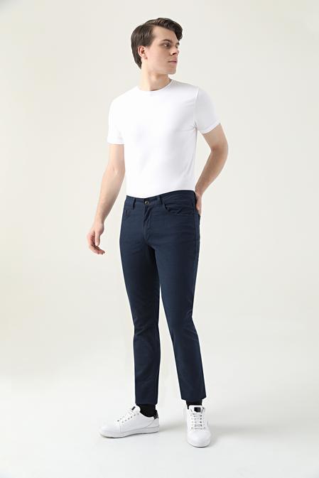 Twn Slim Fit Lacivert Dokulu Chino Pantolon - 8682445336788 | D'S Damat