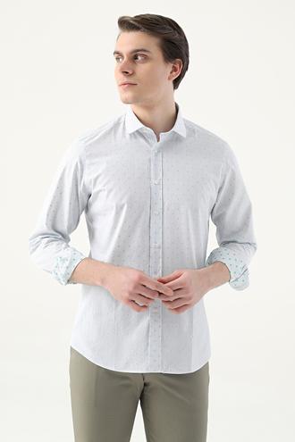 Twn Slim Fit Beyaz Çizgili Gömlek - 8682445310467 | D'S Damat