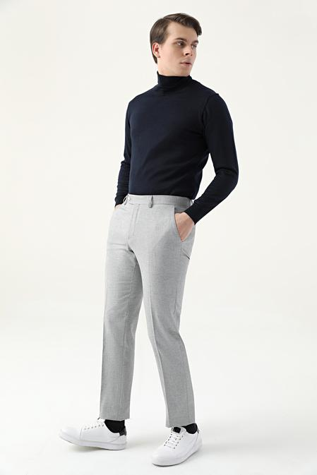 Ds Damat Slim Fit Gri Armürlü Kumaş Pantolon - 8682445345315 | D'S Damat