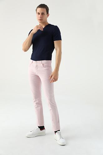 Twn Slim Fit Pembe Çizgili Chino Pantolon - 8681494343525 | D'S Damat