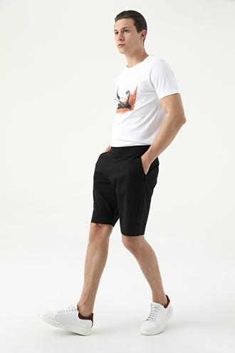 Tween Slim Fit Siyah Çizgili Şort - 8682364651139 | Damat Tween
