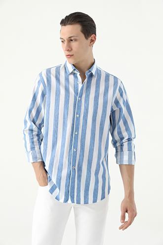 Damat Comfort Beyaz Çizgili Gömlek - 8682364813834 | Damat Tween