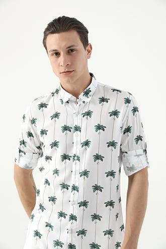 Tween Slim Fit Beyaz Desenli Vual Gömlek - 8682364816910 | Damat Tween