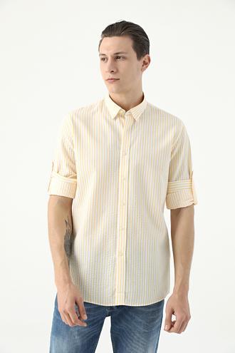 Tween Slim Fit Sarı Çizgili Loafer Gömlek - 8682364816965 | Damat Tween
