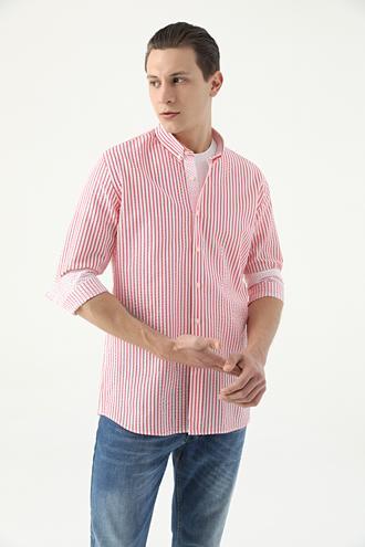 Tween Slim Fit Kırmızı Çizgili Loafer Gömlek - 8682364817146 | Damat Tween