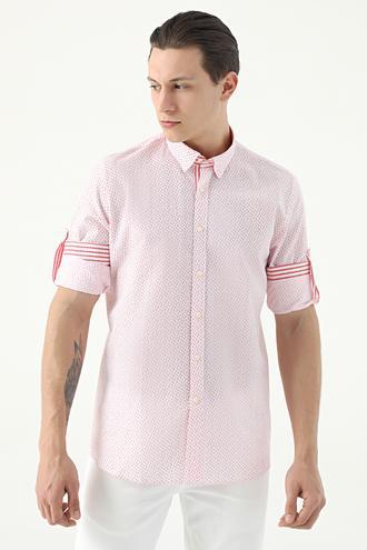 Tween Slim Fit Kırmızı Desenli Loafer Gömlek - 8682364817214 | Damat Tween