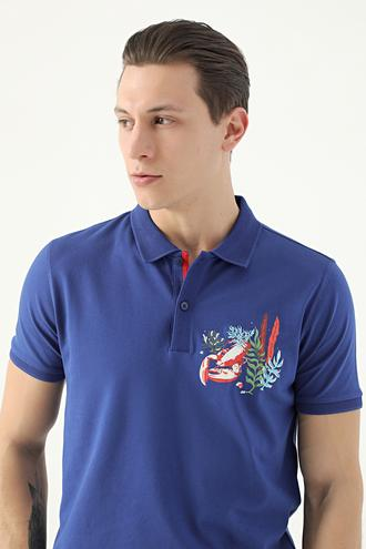 Tween Saks Mavi Nakışlı T-shirt - 8682364498314 | Damat Tween