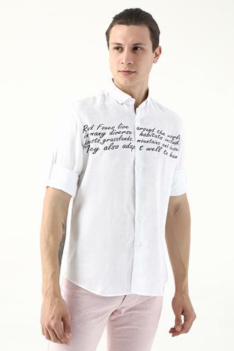 Twn Slim Fit Beyaz Düz Gömlek - 8681778875384 | D'S Damat