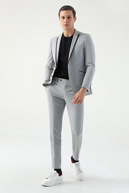 Twn Slim Fit Slim Fit Gri Düz Takım Elbise - 8681779102649   D'S Damat