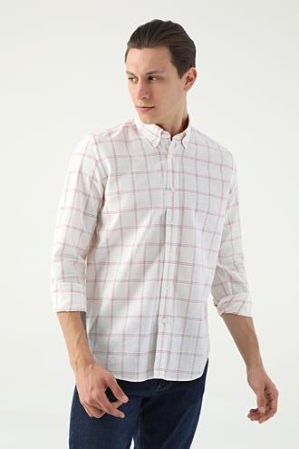 Ds Damat Regular Fit Beyaz Ekoseli Keten Gömlek - 8681778882900 | D'S Damat
