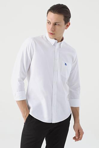 Ds Damat Regular Fit Beyaz Armürlü Gömlek - 8682445018103 | D'S Damat