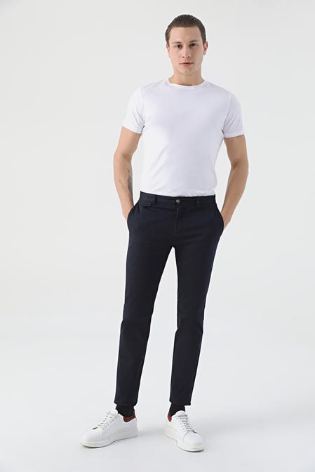 Twn Slim Fit Lacivert Armürlü Chino Pantolon - 8682060592781 | D'S Damat