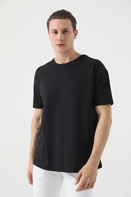 Twn Oversize Siyah Düz T-shirt - 8682445060119 | D'S Damat