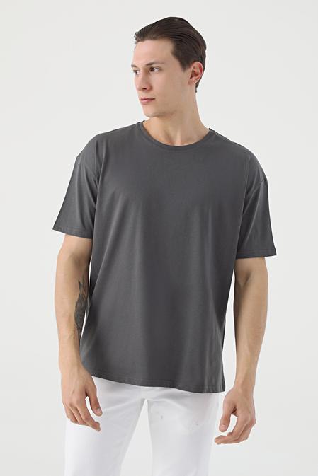 Twn Oversize Antrasit Düz T-shirt - 8682445060157   D'S Damat