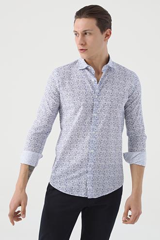 Ds Damat Slim Fit Lacivert Baskılı Gömlek - 8682445291407 | D'S Damat