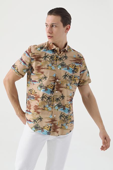 Ds Damat Regular Fit Karma Renk Baskılı Gömlek - 8682445332766 | D'S Damat