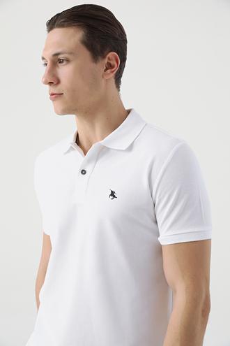 Ds Damat Regular Fit Beyaz Pike Dokulu T-shirt - 8682060976581 | D'S Damat