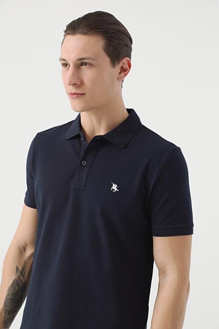 Ds Damat Regular Fit Lacivert Pike Dokulu T-shirt - 8682060975829   D'S Damat