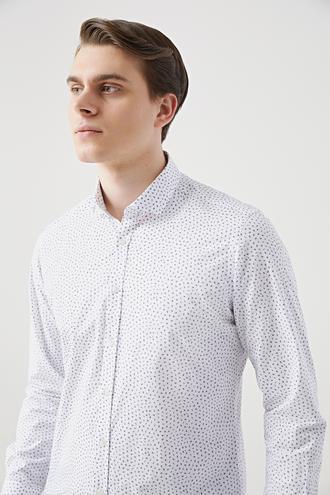 Twn Slim Fit Beyaz Baskılı Gömlek - 8682445481211 | D'S Damat
