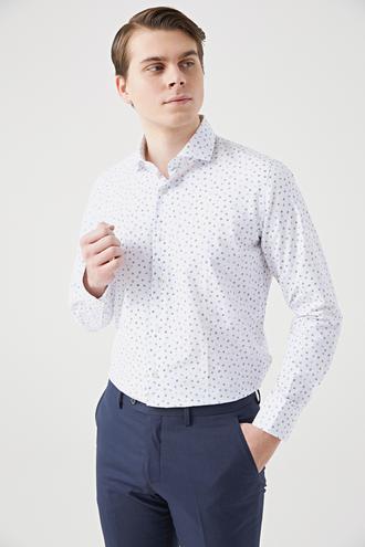 Ds Damat Slim Fit Beyaz Baskılı Gömlek - 8682060378248 | D'S Damat
