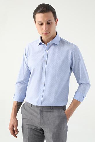 Twn Slim Fit Mavi Armürlü Gömlek - 8681779031505 | D'S Damat