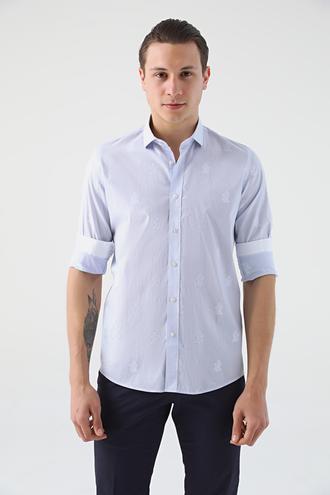 Tween Slim Fit Lacivert Desenli Gömlek - 8681649264026 | Damat Tween