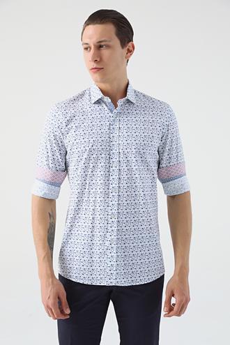 Tween Slim Fit Lacivert Desenli Baskılı Gömlek - 8681649465027   D'S Damat